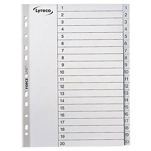 Lyreco Grey A4 Polypropylene 1-20 Indexes - Pack of 10 Sets