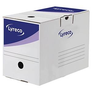 Boîte d'archives Lyreco, dos 20 cm, carton, blanche-bleue