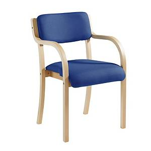 Wood-Framed Conference Chair With Arm Rests Blue - Delivery Only