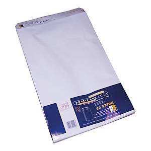 Koperty z rozszerzonymi bokami i dnem, 300x468x40 mm, białe, 20 sztuk