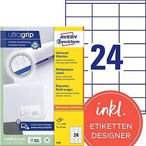 Etiketten Avery Zweckform ultragrip 3422, 70x35 mm, weiss, Pk. à 2400 Stk.