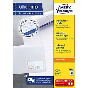 Avery 3422 multifunctionele witte etiketten, 70 x 35 mm, doos van 2.400