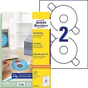 Etiquettes pour CD Zweckform L6015-25, Ø 117 mm, blanc, emb. de 50 pcs