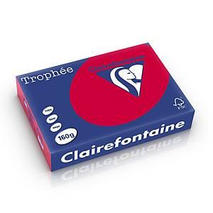 Papier A4 coloré Clairefontaine Trophée 1016, 160 g, rouge cerise, 250 feuilles