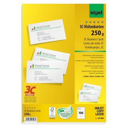 Visitenkarten Sigel 3c Lp800 85 X 55mm 250g Weiß Glatte
