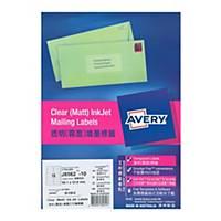 Avery 艾利 J8562 透明噴墨標籤 99.1 x 34毫米 每張16個標籤