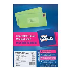 Avery 艾利 J8560 透明噴墨標籤 63.5 x 38.1毫米 每張21個標籤