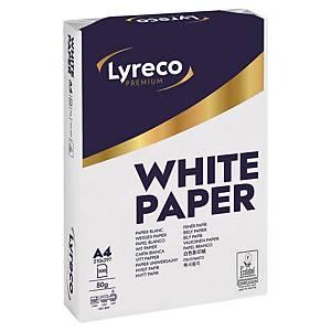 Papier pour photocopieur Lyreco Premium A4, 80 g/m2, blanc, boîte de 5x500 flles