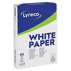 Multifunktionspapir Lyreco Standard, A4, 80 g, kasse med 5 x 500 ark
