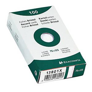 Fiches Exacompta, lignées, 75 x 125 mm, blanches, le paquet de 100 fiches