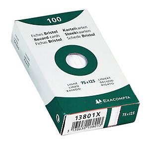 Exacompta fiches lignées 77x129mm blanches - paquet de 100