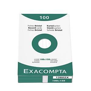 Fiches Exacompta, lignées, 100 x 150 mm, blanches, le paquet de 100 fiches