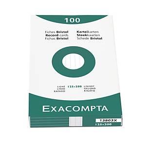 Fiches Exacompta, lignées, 125 x 200 mm, blanches, le paquet de 100 fiches