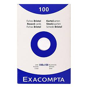 Fiches Exacompta, vierges, 100 x 150 mm, blanches, les 100 fiches