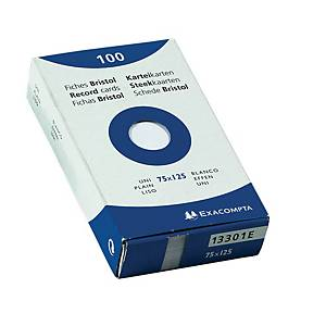 Exacompta system cards blank 79x129mm white - pack of 100