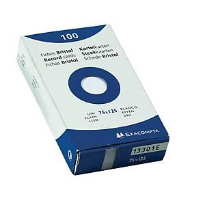 Fiches Exacompta, vierges, 79 x 129 mm, blanches, le paquet de 100 fiches