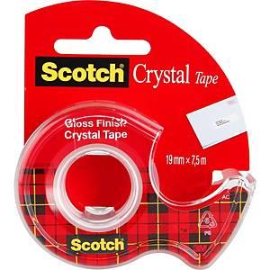 Krystalicky čirá lepicí páska Scotch®, 19 mm x 7,5 m, 1 rolka v zásobníku