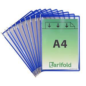 Tarifold 114001 poches d affichage en métal et PVC bleu - paquet de 10