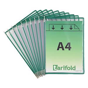 Pochettes transparentes Tarifold 114005 A4, vert, paq. 10unités