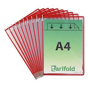 Pochettes transparentes Tarifold 114003 A4, rouge, paq. 10unités