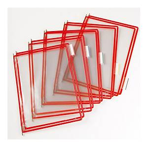 Náhradní panely t-display Industrial Tarifold A4, barva červená, v balení 10 ks