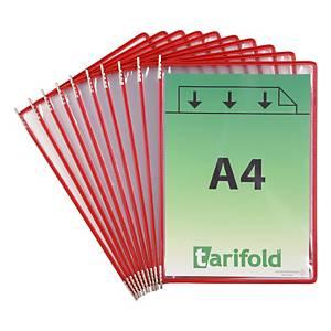 Tarifold 114003 poches d affichage en métal et PVC rouge - paquet de 10
