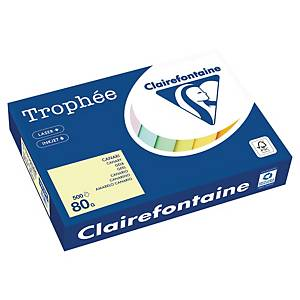TROPHEE PASTEL COLOURED PAPER A4 80G CANARY- REAM OF 500 SHEETS