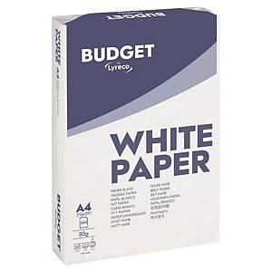 Papir til sort/hvit-utskrift Lyreco Budget A4 80 g, eske à 5 x 500 ark