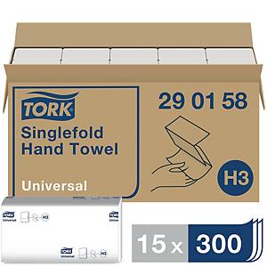 Falthandtuch Tork ZZ H3 Universal 290158, 1-lagig, weiß, 20x200 Tücher