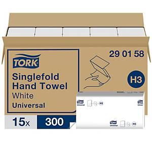 Tork 290158 H3 White Singlefold Hand Towel 1 Ply - Pack of 15 Sleeves of 300