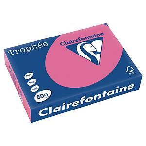 Trophée farebný papier Clairefontaine, A4 80g/m² - tmavoružový
