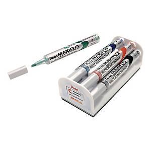 Marker suchościeralny PENTEL Maxiflo MWL5S, zestaw 4 kolorów z gąbką