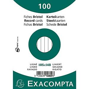 Cartes-fiches Exacompta A6 lignées blanc, emb. de 100 pces.