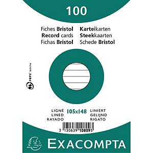 Kartotekskort Exacompta, A6, linjerat, 10,5 x 14,8 cm, bunt. med 100 st.