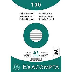Kartotekskort, A5, linieret, 14,8 x 21,0 cm, bundt a 100 stk.