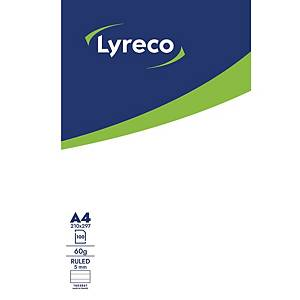 LYRECO NOTEPAD GLUED 100S A4 RULED 60G