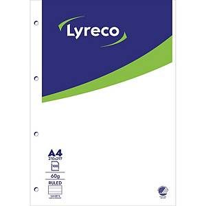 NOTEPAD LYRECO N/PAD GLUED 4PUNCH 100S A4 RULED 60G