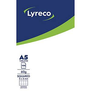 LYRECO NOTEPAD GLUED 100S A5 5X5 60G