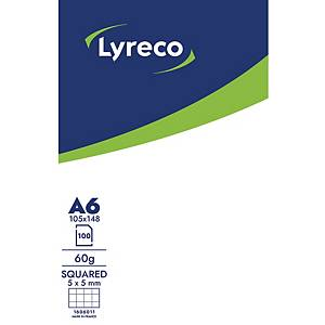LYRECO NOTEPAD GLUED 100S A6 5X5 60G