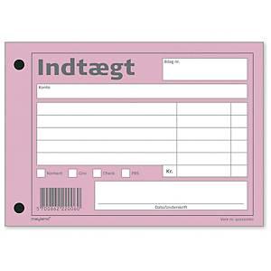 Indtægtsbilag Mayland, 148 x 100 mm, 2 huller, rosa 100 ark