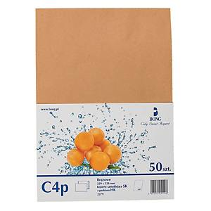 PACK 50 ENVELOPES C4 GUMMED BROWN