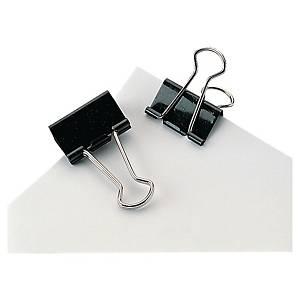 Foldback-Klemmer, Breite: 25 mm, Klemmweite: 10 mm, schwarz, 12 Stück