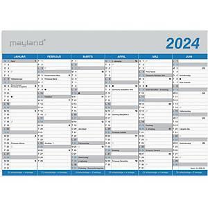Kalender Mayland 0590 00, 2 x 6 måneder, 2021, A4, blå