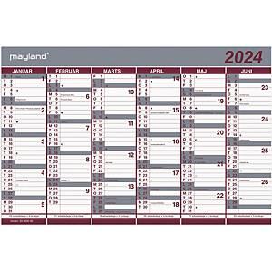 Vægkalender Mayland 0630 00, 2 x 6 måneder, 2021,  44 x 29 cm, blå