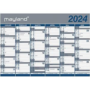 Vægkalender Mayland 0641 00, 2 x 6 måneder 2021, 100 x 70 cm, blå