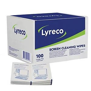 Renseservietter Lyreco, til avtørking av skjermer, pakke à 100 stk.