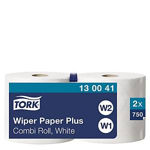 Tork W1 White 2 Ply Wiping Paper Plus Roll 255M - Pack of 2