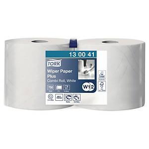Carta plus per asciugatura uso industriale Tork bianco - conf. 2 bobine