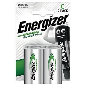 Oppladbare batterier Energizer NIMH C, pakke à 2 stk.