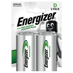 Dobíjecí baterie Energizer Power Plus, D/HR20, 2500mAh, 2 kusy